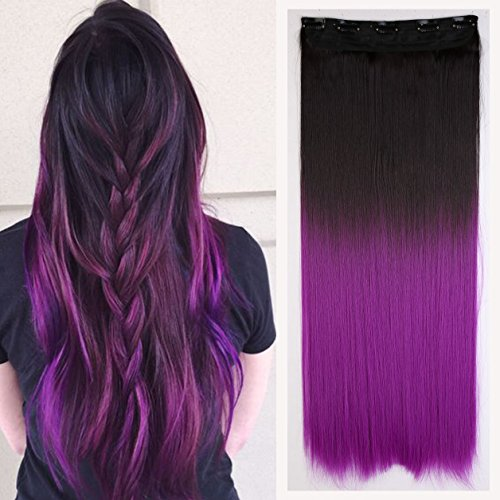 Fashion Sexy Two Tone Long straight Clip in Hair Extensions Pieces Dark brown to Dark Purple 25 Inches girls fashion choice (Hair Extensions Brown To Purple)