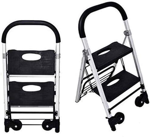 HBWJSH Escalera/Carro de Escalera de Uso doméstico Escalera de 2 Niveles Pedal Estable Antideslizante Engrosamiento Engrosamiento multifunción aleación de Aluminio Plegable: Amazon.es: Hogar
