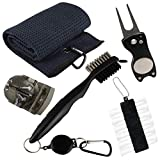 VIXYN Golf Accessories Gift Set – Golf Towel, Golf Club Brush with Groove Cleaner, Foldable Divot Repair Tool with Ball Marker, Golf Ball Marker and Golf Tee Holder – Golf Club Cleaning Kit