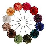 Landisun Handmade Men's Flower Lapel Pin Boutonniere for Suits (1 Dozen, Style 8)