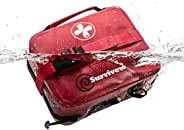 SURVIVEWARE Waterproof Premium Large First Aid Kit for Cars, Boats, Trucks, Hurricanes, Tropical Storms and Ou