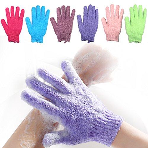 Bath Exfoliating Gloves Nylon Shower Gloves, Bath Scrubber bath body brush, Body Spa Massage Dead Skin Cell Remover Valentine's Gifts for Women Men 6 Pair