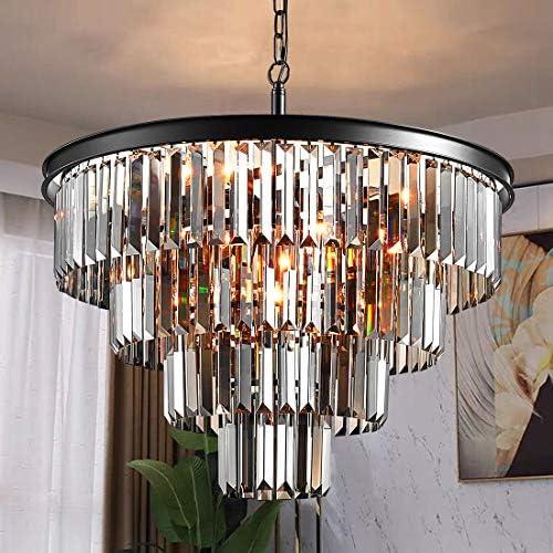 TZOE Luxury Black Smoke Crystal Modern Contemporary Chandeliers Pendant Ceiling Light 4-Tier Chandelier Lighting