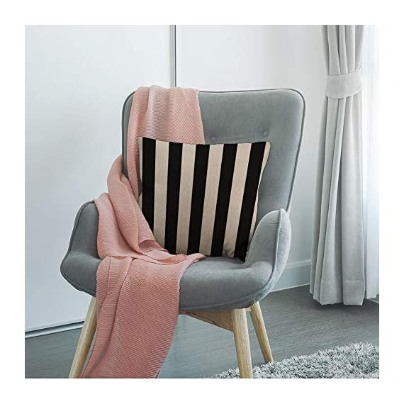 """HGOD DESIGNS Stripes Throw Pillow Cover,Wide Lines Texture Modern Abstract Geometric Striped Monochrome Black White Bands Decorative Pillow Cases Linen Cushion Covers for Home Sofa Couch 18x18 inch - Stripes pillow cover dimensions: 18"""" x 18"""" inch (1-2cm deviation).Please ensure your pillow is suitable for this size.it is easy to install. Stripes pillowcase made of durable high quality cotton linen Burlap material,no peculiar smell,comfortable,breathable,durable and stylish. Stripes decorative pillows pattern is print on the both side.it will decorate your house well,Brings Luxury Look To Your Home Decorative, Living Rooms, Sofa, Couch, Chair, Bedrooms, Offices,Car - patio, outdoor-throw-pillows, outdoor-decor - 51GBSOqjGzL. SS570  -"""