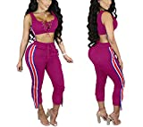 Women's 2 Pieces outfits Lace Up Crop Tank Top+Ankle Pant Sweatsuits Set Tracksuits X-Large Rose