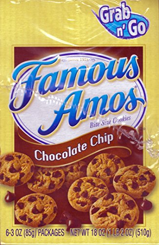 Famous Amos Grab n' Go Bite Size Chocolate Chip Cookies, (3 Oz. Bag, 6 Ct.)