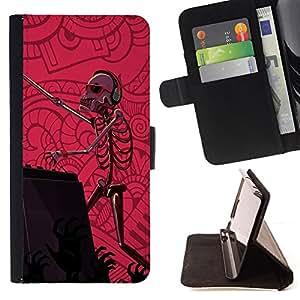 Jordan Colourful Shop - dj set skeleton zombie dance party pink For HTC Desire 820 - < Leather Case Absorci????n cubierta de la caja de alto impacto > -