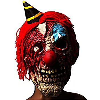 scary halloween latex mask clowncreepy cosplay bloody zomie ghost mask with hair for adults