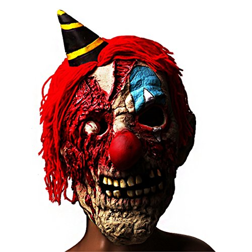 Evil Killer Clown Latex Mask Scary Masks Halloween Party Costume Decorations Creepy Latex Mask for (Halloween Clown Makeup Guys)
