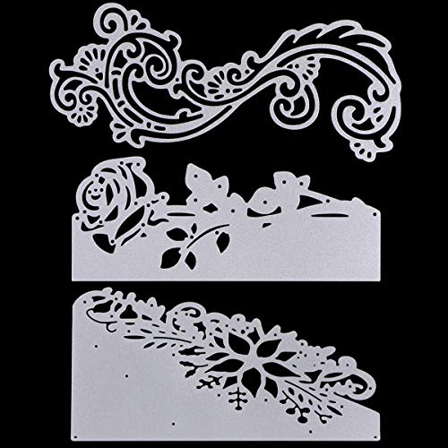 3 Pcs Metal Cutting Dies Stencils, KISSBUTY Criss-Cross Metal Embossing Scrapbooking Dies Cuts Handmade Stencils Template Embossing for Card Scrapbooking Craft Paper Decor (Flower Lace Cutting Dies)