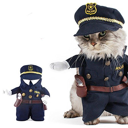 [MaxS Pet Policeman Costume Uniform Clothes Funny Apperal Cat and Medium Small Dog - M by s_max] (Funny Uniform Costumes)