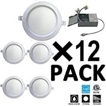 Green Canada LED 6Inch 15W 1000LM LED recessed slim pot light,IC-rated slim downlight / ceiling light with Junction Box, Dimmable ETL/Energy Star approved(12 pack) (3000K/Warm White)