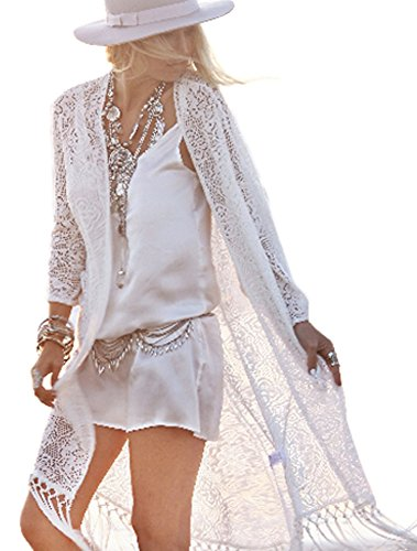 Boho Long Tassels White Lace Loose Kimono Cardigan Coats Jackets, White, Small