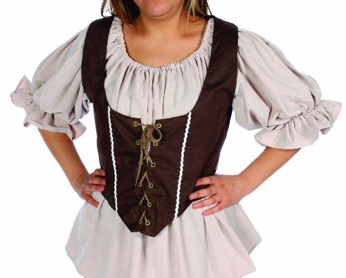 (Alexanders Costumes Women's Female Renaissance Vest, Brown, X-Large)