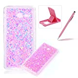 Rubber TPU Case For Samsung Galaxy J5 2017,Herzzer Slim Lightweight Color Changing Glittering Luxury Unique [Red Sequins] Bling Shiny Sparkle Soft Silicone Gel Clear Bumper Frame Cover for Samsung Galaxy J5 2017