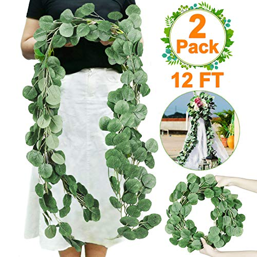 2 PCS Eucalyptus Garland-Total 12Ft Artificial Greenery Garland Vines Eucalyptus Leaf Garland Faux Silk Artificial Ivy Garland Hanging Wreath for Wedding Arch Backdrop Wall Party Decor