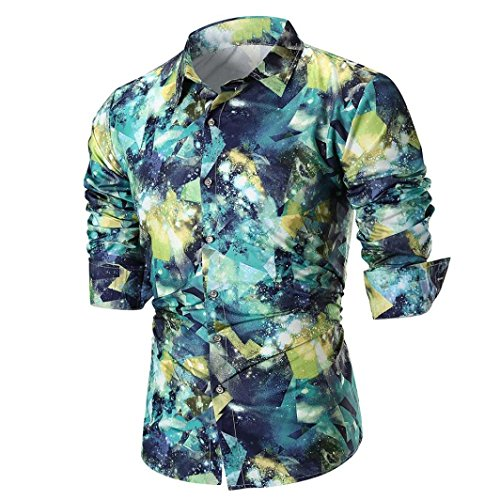 - Clearance Long Sleeve Shirts for Men vermers New Fashion Personality Mens Casual Slim Printed Shirt Top Blouse(M, Green)