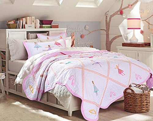 Brandream Pink Ballet Kids Comforter Set Cute Girls Bed Quilt Set Twin Queen Size