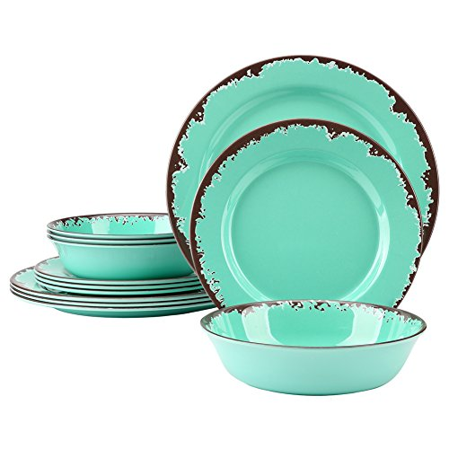 Yinshine 12 Pcs Rustic Melamine Tableware Set, Green, Service for 4