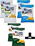 Cape Cod Kettle Cooked Potato Chips 2 Ounce Variety Pack 6 Count, 3 Different Flavors with By The Cup Chip Clip