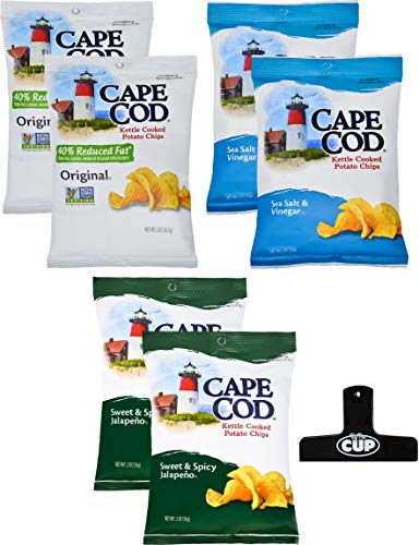- Cape Cod Kettle Cooked Potato Chips 2 Ounce Variety Pack 6 Count, 3 Different Flavors with By The Cup Chip Clip