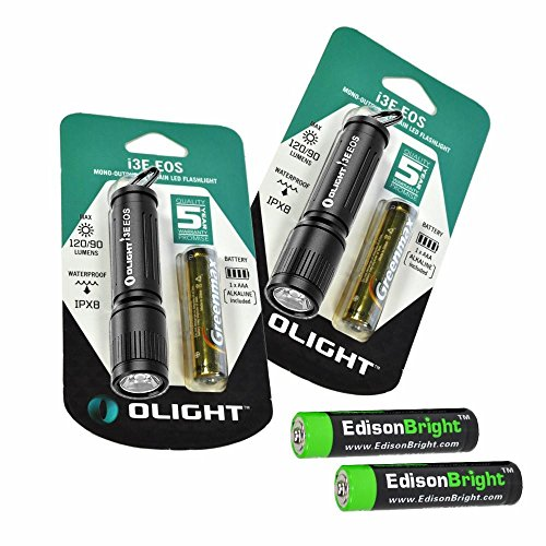 2 Pack Olight I3E 90 Lumen Phillips Luxeon LED Flashlight (Black Body) with 2 X EdisonBright AAA batteries