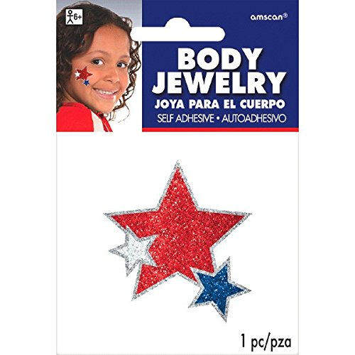 Patriotic Fourth of July Red, White and Blue Stars Glitter Body Jewelry Accessory, Paper, 2