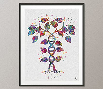 Amazon.com: DNA Tree, Double Helix, Watercolor Print, Medical Symbol ...