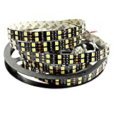 SZMiNiLED Double Row Black PCB 5050SMD Warm White DC 12V LED Flexible Strip Ribbon Tape 16.4ft 5m 600LEDs Non-Waterproof LED String Lights Warm White