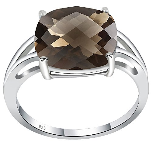 Orchid Jewelry Cushion Shaped Smoky Quartz 925 Sterling Silver Ring for Women and Girls, Best Gift, Perfect for Engagement, Anniversary, Mother Day, Box (5.67 Cttw, 12x12 MM) (Quartz Smoky Jewelry Silver Box)