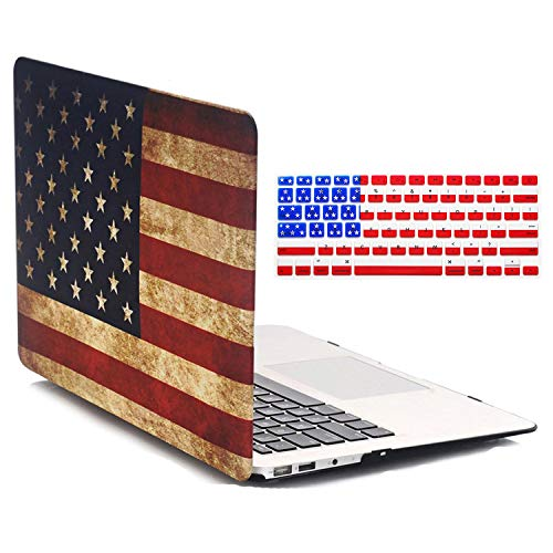(Old MacBook Air 13 Inch Case (Model A1466 / A1369) - iZi Way The Stars and Stripes Vintage American Flag Pattern Snap-on Hard Plastic Folio Case Cover for MacBook Air)