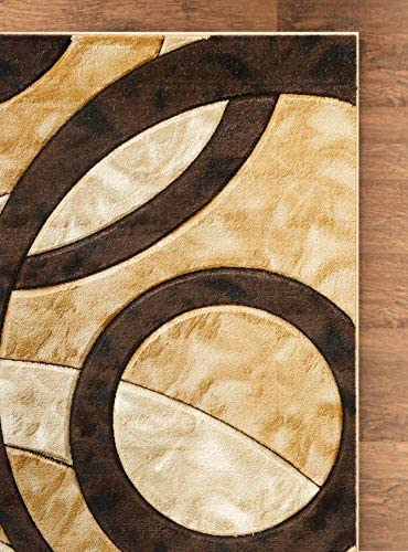 Glory Rugs Area Rug Modern 8x10 Brown Circles Geometry Soft Hand Carved Contemporary Floor Carpet Fluffy Texture