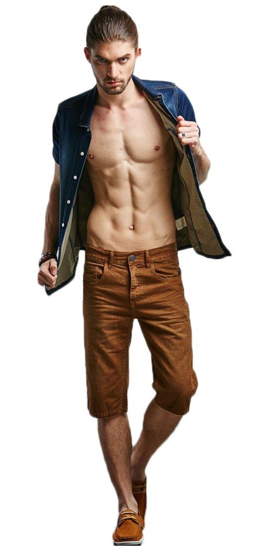 Liveinu Men's Slim Fit Denim Short Jeans Beach Short Brown XXL
