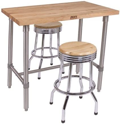 Amazon Com John Boos Cucina Americana Classico Prep Table With Wood Top Size 48 W X 30 D X 36 H Casters Included Bar Serving Carts
