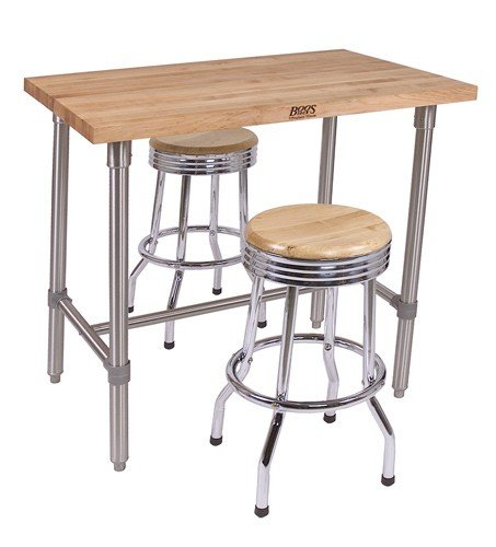 Cucina Americana Classico Prep Table with Wood Top Size: 48'' W x 30'' D x 36'' H, Casters: Included