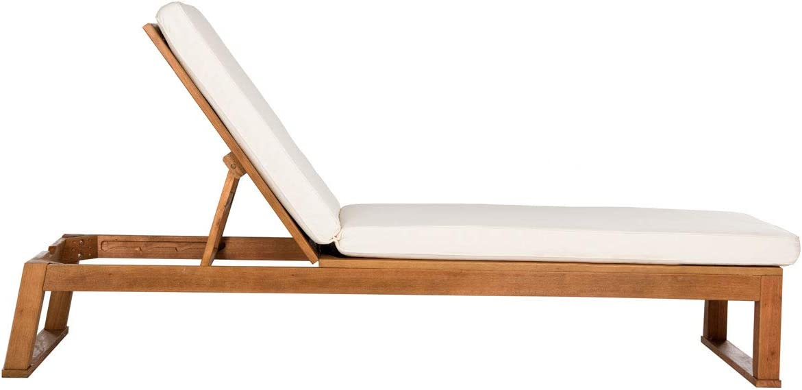 SAFAVIEH Outdoor Collection Solano Brown Natural Wood/ Beige Patio Backyard Chaise Lounger Chair