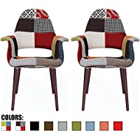 2xhome - Set of Two (2) - Patchwork - Upholstered Organic Arm Chair Armchair Fabric Chair with Chocolate Wood Leg Dining Room Chair With arm Modern…