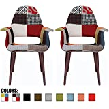 Cheap 2xhome Set of 2, Patchwork Patterned Mid Century Modern Upholstered Fabric Organic Accent Living Room Dining Chair Armchair Set With Back Armrest Dark Black Wood Wooden Legs for Kitchen BedroomSam