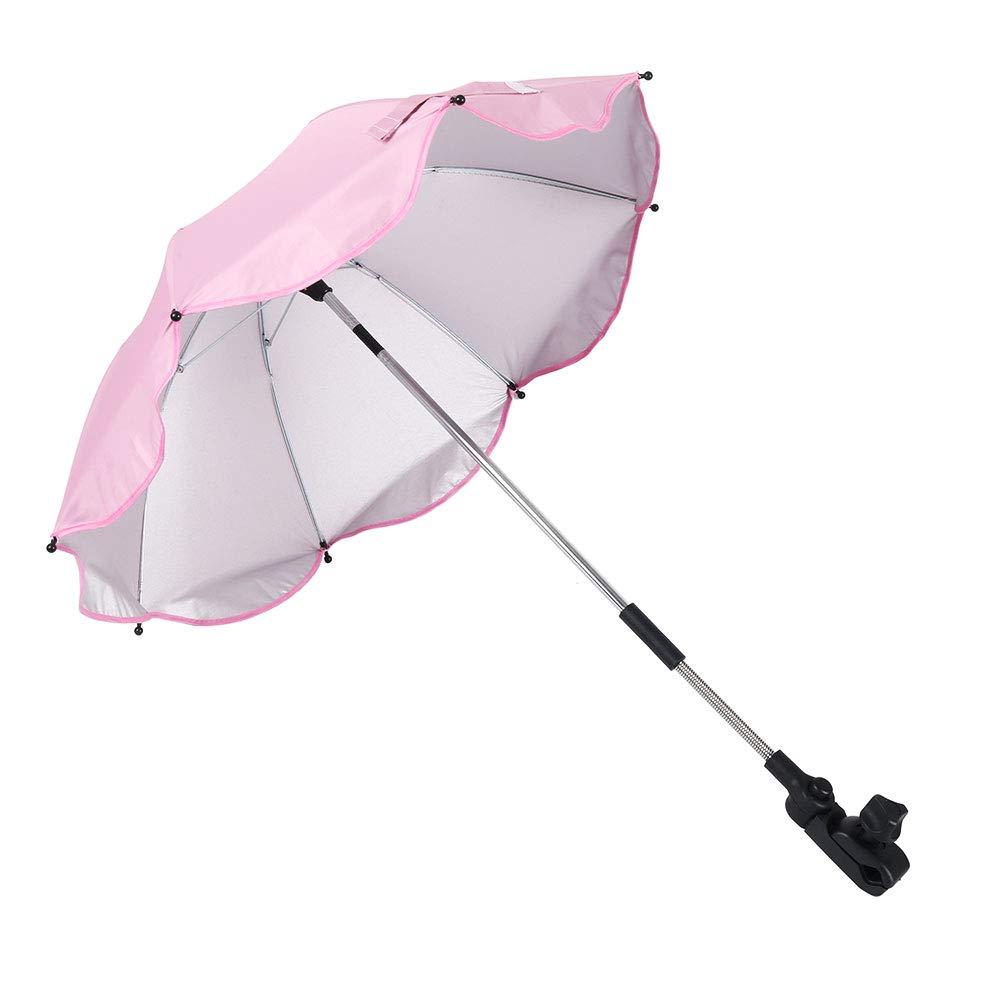 Baby Parasol Pram Pushchair Buggy Sun Umbrella Kids Stroller Canopy Rain Protection Sunshade Pink