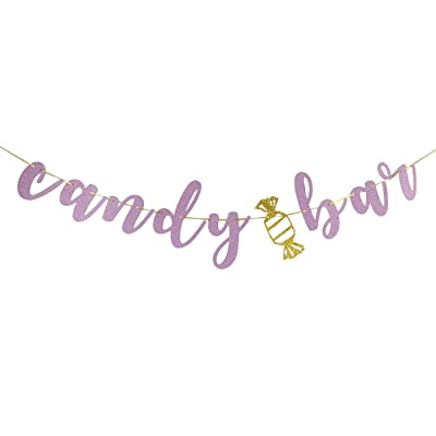 CANDY BAR Banner Bridal Shower,Engaged,Married,Wedding Anniversary Party Decorations(Pink Glitter): Toys & Games