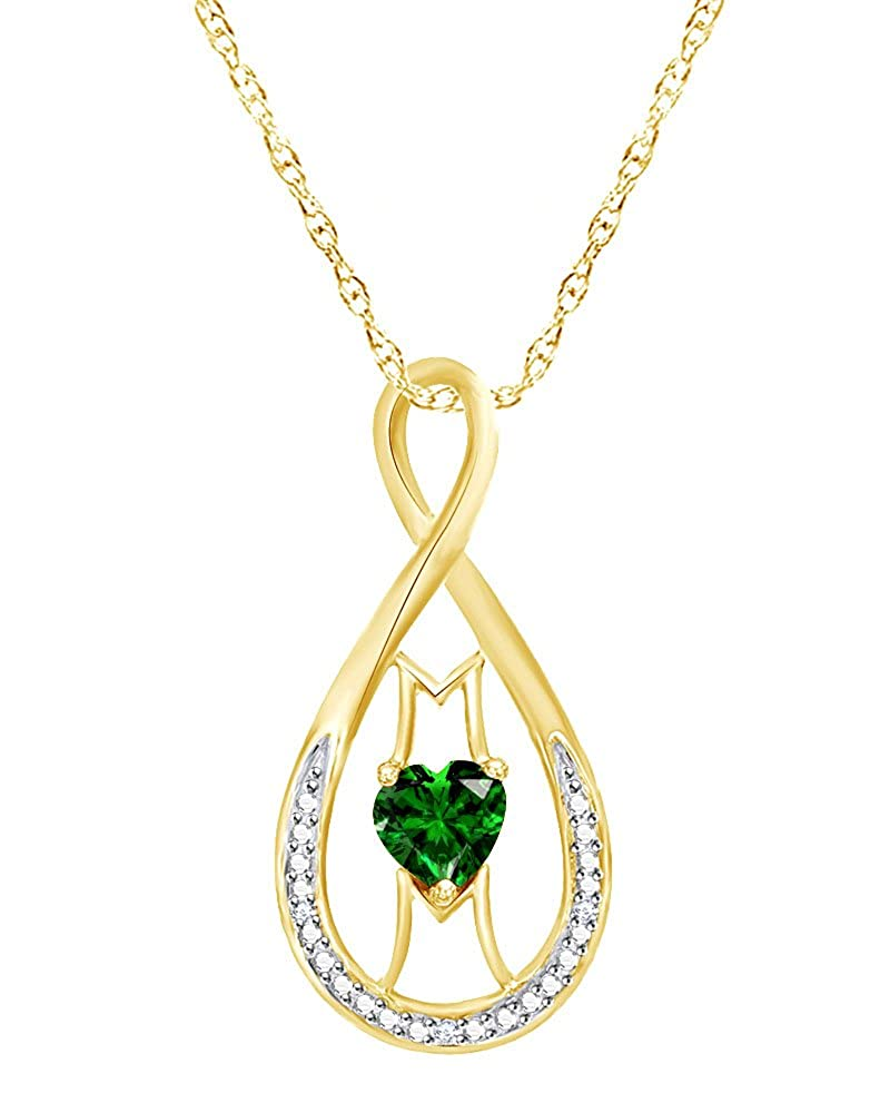 Wishrocks Simulated Emerald /& Diamond Accent MOM Infinity Heart Pendant in Sterling Silver