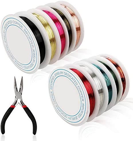 10 Pack Jewelry Copper Craft Wire with Nose Pliers, 10 Colors Jewelry Beading Wire kit for Necklaces Bracelet Jewelry Making Supplies (Each Roll: 49ft Long, 0.3mm Thick)