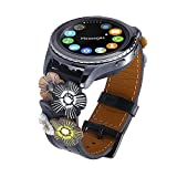 FayTop Genuine Leather Watch Band 20mm Women,Quick Release Leather Watch Strap with 3D Flower/Black Buckle for 20mm Band Width Watch Traditional Compatible Samsung Galaxy Watch 42mm/Active 40mm