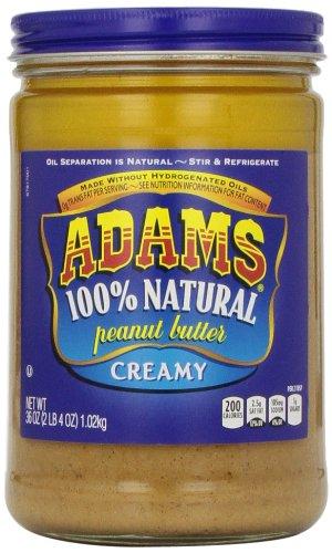 Adams, 100% Natural Peanut Butter Creamy, 36 (100% Butter)