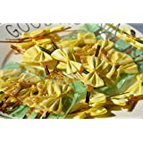 ONOR-Tech 50 pcs Lovely Cute Adorable Bow Twist Tie for Bakery Candy Lollipop Cello Bag (Yellow)