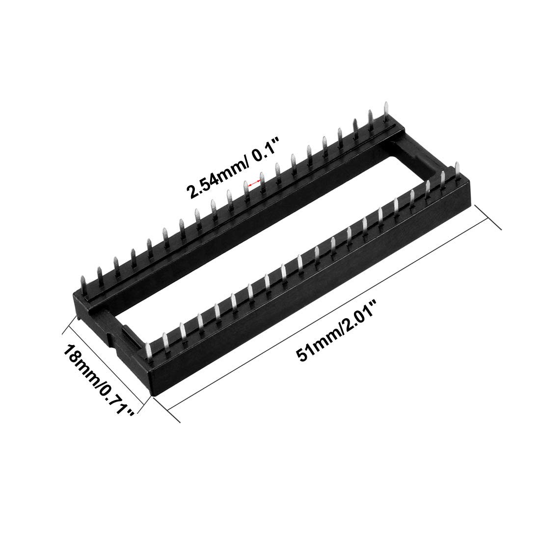 uxcell 25pcs 2.54mm Pitch 7.62mm Row Pitch 2 Row 24 Flat Pins Soldering DIP IC Chip Socket Adaptor