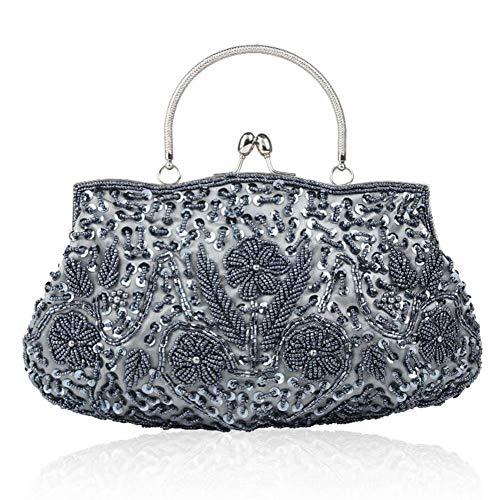Evening Women's Handmade Evening Embroidered Bag Retro Sequined Beaded Bag Gray qw40xRrTw