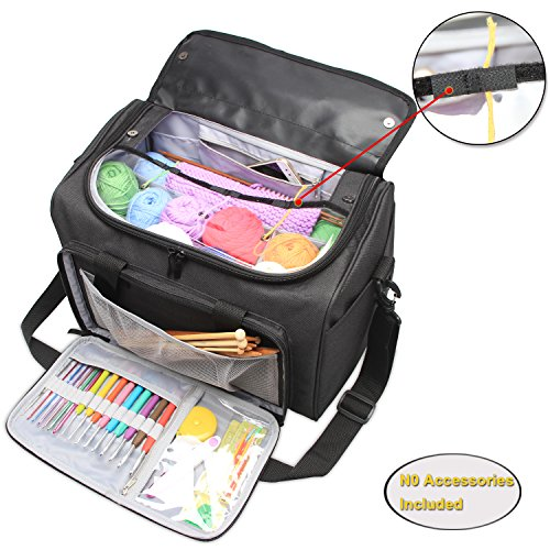 UPC 605734517413, Teamoy Knitting Tote Bag, Yarn Storage Bag with Inner Detachable Divider for Thread Wool Yarn, Unfinished Project, Crochet Hooks, Knitting Needles and Accessories, Perfect for travel, Black