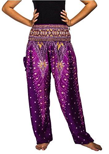 Lofbaz Women's Peacock Print Smocked Waist Harem Pants Purple -