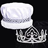 Pearl Royalty Set, 3 inch High Fleur-de-Lis Pearl Tiara and White Crushed Satin Crown with Silver Band, White Fur